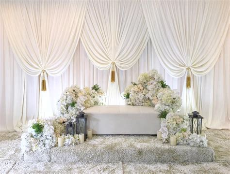 White Wedding backdrop with beautiful swags stage curtain