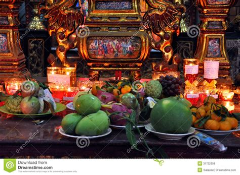 Food And Incense Stick Offering In A Temple Editorial