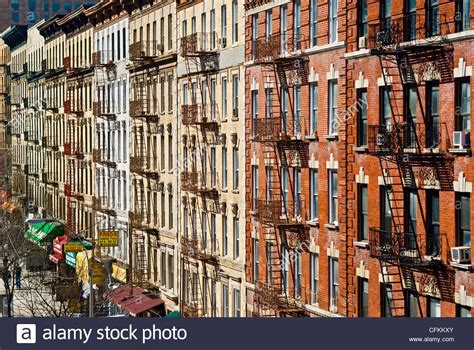 Fire escapes on tenement apartment buildings in Harlem