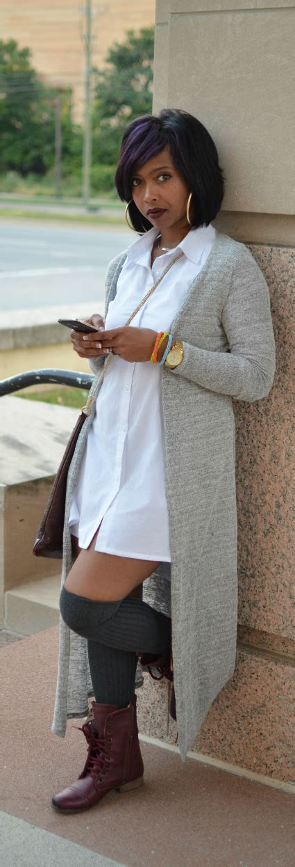 White Button Down - Maxi Cardigan - Fall 2014 Fall Outfit