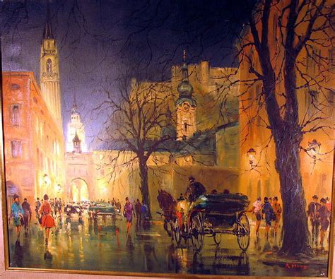 FRENCH PARISIAN STREET SCENE OIL PAINTING SIGNED For Sale