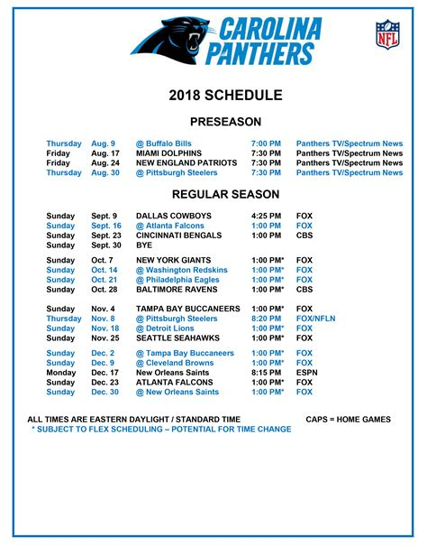 The Carolina Panthers Release Their 2018 Schedule - WCCB
